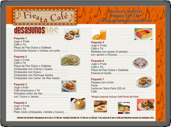 Fiesta Cafe Menu